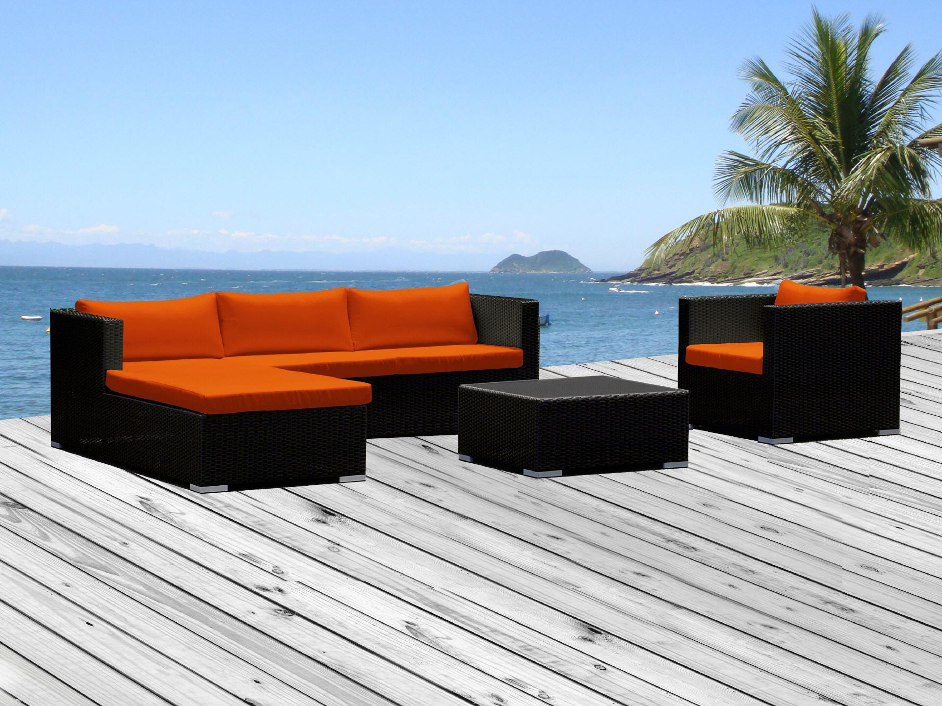 Elegant Rattanmöbel Wohnzimmer Ideen Von Rattan Lounge Rattanmöbel Mit Orangen Sitzkissen