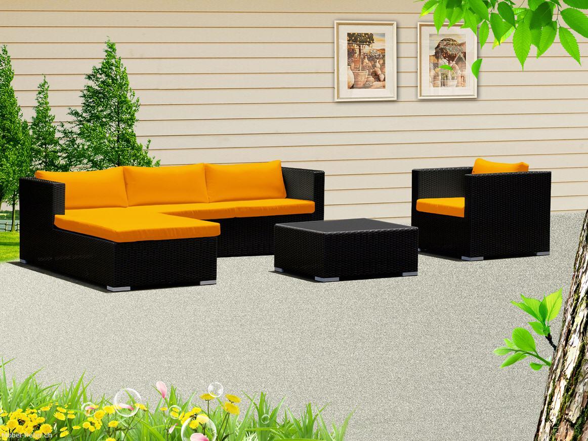 Gartenmobel Rattan Gebraucht : Rattan Lounge Gartenmöbel mit gelben Sitzkissen